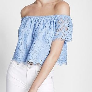 Light Blue Lace Off the Shoulder Top, S || Express